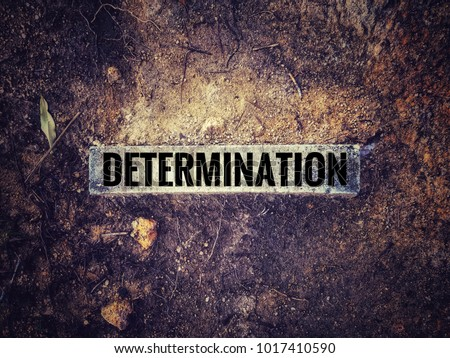 Motivational and inspirational quotes - Word 'determination' on a long brick. With vintage styled background of dry ground. #1017410590