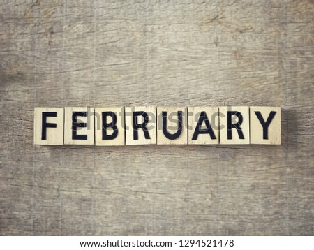 Motivational and inspirational word - 'FEBRUARY' written on wooden blocks and arranged on a wooden table.
