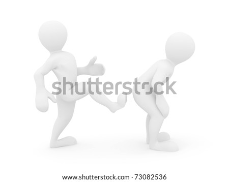 Motivational kick up the ass on white isolated background. 3d