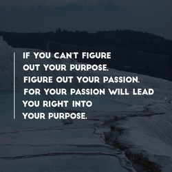 Motivational quote If you can't figure out your purpose figure out your passion for your passion will lead you right into your purpose.