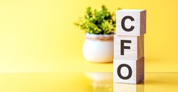 Motivational words: CFO in 3d wooden alphabet letters on a bright yellow background with copy space, business concept. CFO - Chief Financial Officer. Front view concepts, flower in the background.