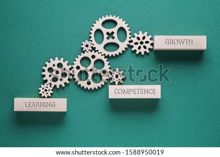 Motivational words Learning, Competence, Growth - business concept. Gears mechanism on green background. Stock photo ©