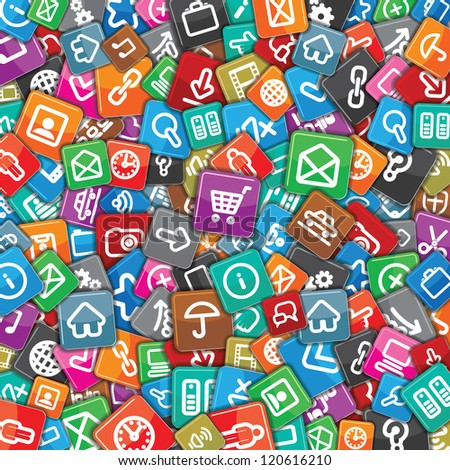Motley Apps Pattern. Background with Many Random Multicolored Web Icons.