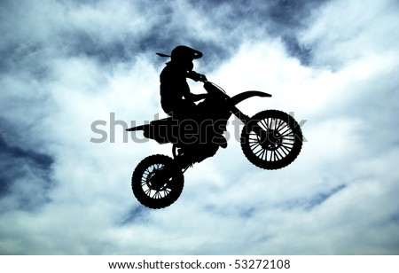Moto racer on sky background. Sport desogn.