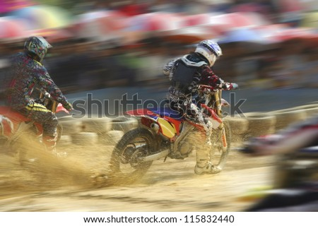 Motocross bike increase speed in track