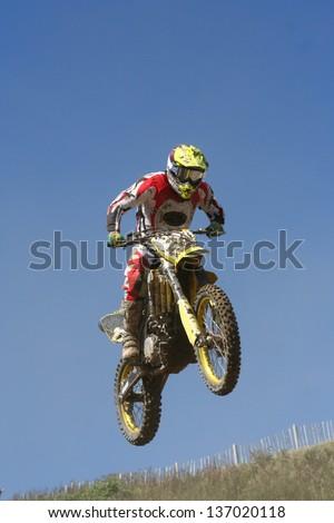Motocross motorcycle jump 2 : Shutterstock