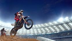 Motocross riders in action. Supercross. Motocross sport.
