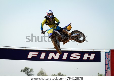 Motocross winner jump