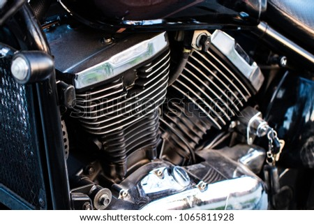 Motor bike detail - Engine block, Metal parts of motorcycle. #1065811928