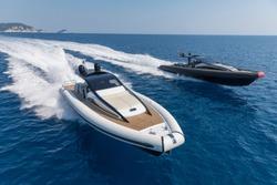 Motor boat in navigation