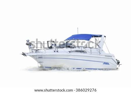 motor boat on white background