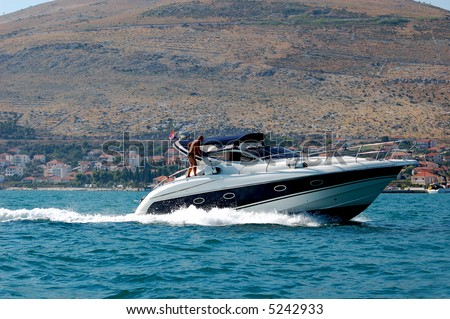 Motor Boat Speeding Stock Photo 5242933 : Shutterstock