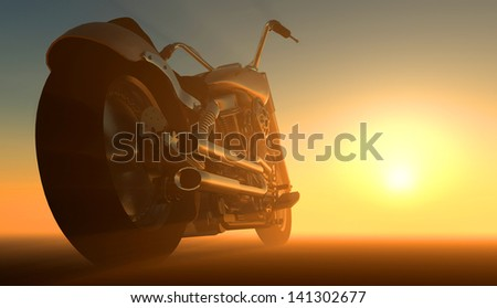 Motor cycle on an orange background