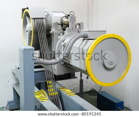 motor driven elevator in the engine room