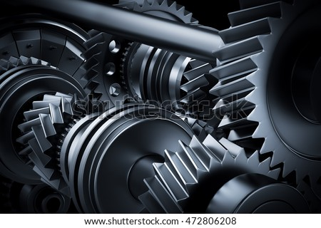 Motor, engine close-up. Gears, cogwheels, real engine elements background. Heavy industry. 3D rendering