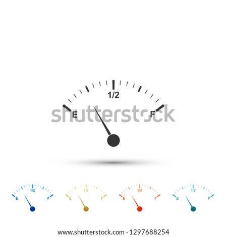 Motor gas gauge icon isolated on white background. Empty fuel meter. Full tank indication. Set elements in colored icons. Flat design