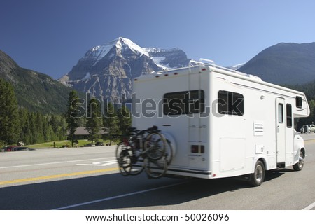 Motor Home in Rocky Mountains, Mount Robson