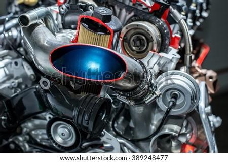 Motor of a vehicle closeup stock photo