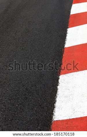 Motor race asphalt and curb on Monaco Montecarlo Grand Prix street circuit