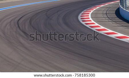 Motor racing track. Race track curve road