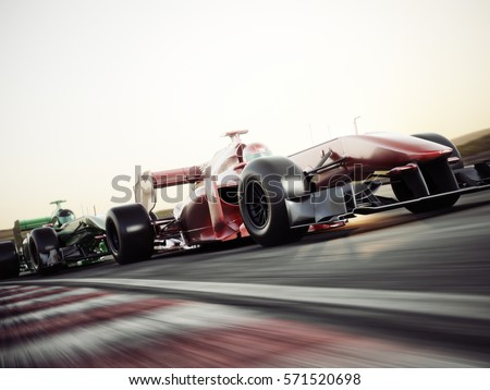Motor sports competitive team racing. Fast moving generic race cars racing down the track . 3d rendering with room for text or copy space