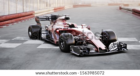 Motor sports competitive team racing. Generic red race car parked at the finish line of a race track with room for text or copy space. 3d rendering