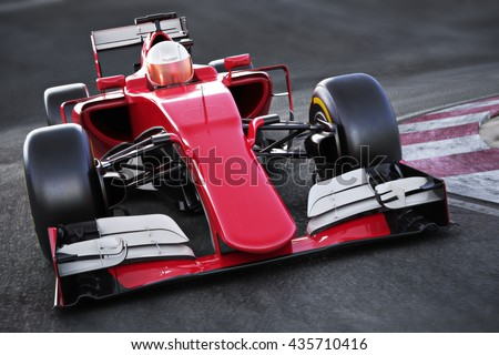 Motor sports race car Front angled view speeding down a track . 3d rendering