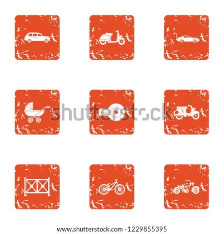 Motor vehicles icons set. Grunge set of 9 motor vehicles icons for web isolated on white background