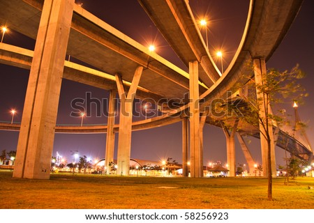 Motor way bridge at night