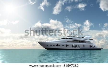 stock photo : motor yacht in the ocean