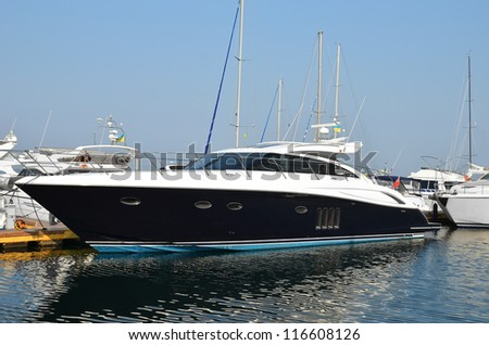 Motor yacht over harbor pier, Odessa, Ukraine