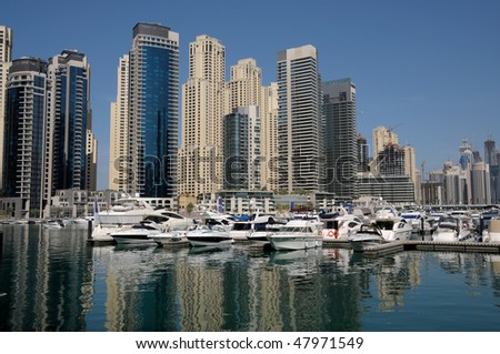 Motor Yachts at Dubai Marina, United Arab Emirates