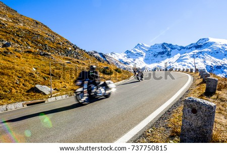 motorbike at the grossglockner mountain - blurred motion