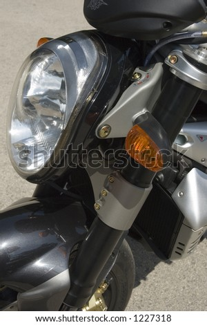 Motorbike details: front light and direction indicator