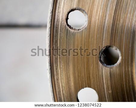 Motorbike engine disk brake. Close up of a motorcycle disk brake. #1238074522