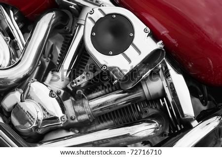 Motorbike engine. Red tank and chrome metal finish engine. Superbike.