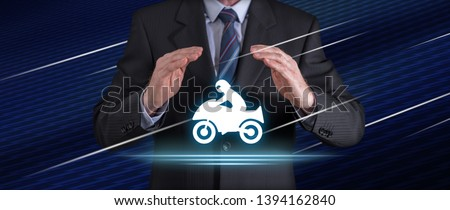 Motorbike insurance concept with businessman in a protective gesture #1394162840