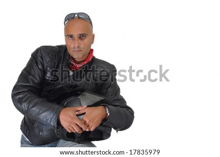 Motorbike rider isolated against a white background