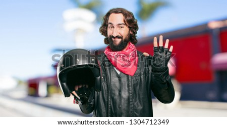 motorbike rider with a helmet countdown #1304712349