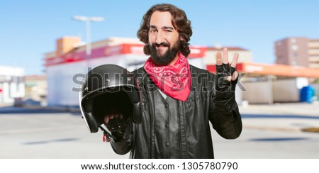 motorbike rider with a helmet countdown #1305780790