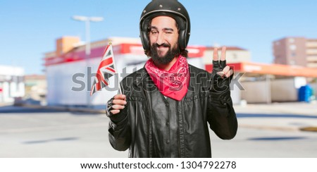 motorbike rider with england flag #1304792278
