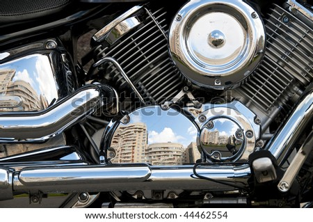 Motorbike's chromed engine