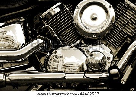 Motorbike's chromed engine  (sepia)