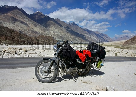 motorbike  stop in mountains