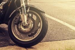 Motorbike wheel closeup