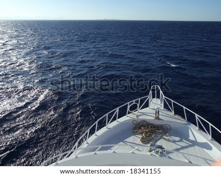 motorboat coming at sea, view of front