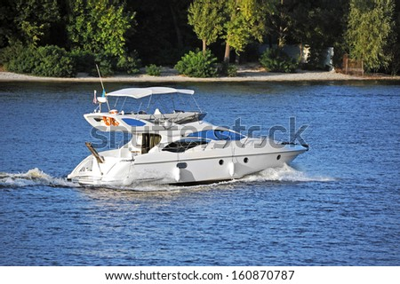 Motorboat on the Dnieper river, Kiev, Ukraine
