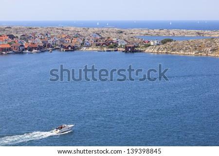 Motorboat on the sea archipelago on the swedish west coast