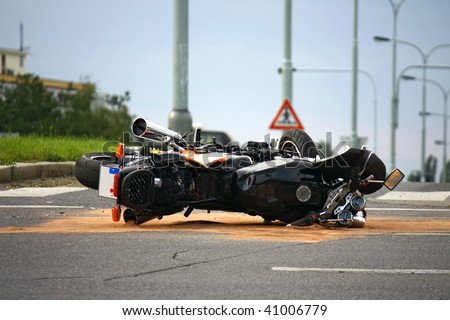 motorcycle accident on the city street