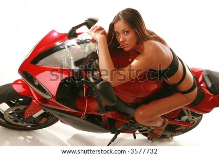 motorcycle and beautiful asian model